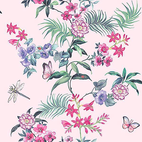Picture of Carmen Light Pink Floral Wallpaper
