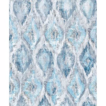 Picture of Gilboa Blue Ikat Wallpaper