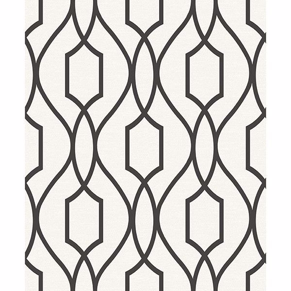Picture of Evelyn Black Trellis Wallpaper