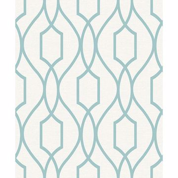 Picture of Evelyn Teal Trellis Wallpaper