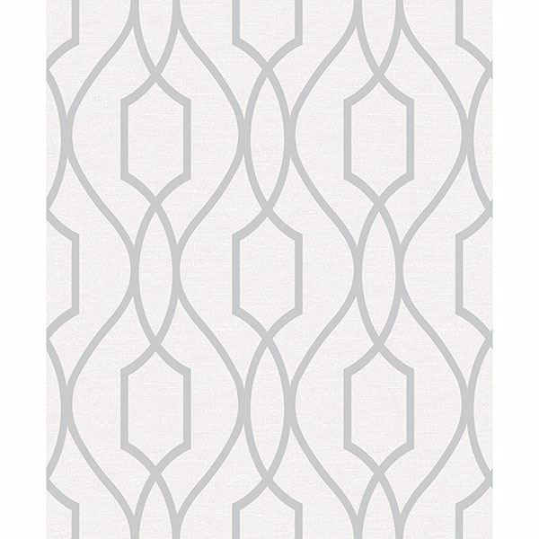 Picture of Evelyn Silver Trellis Wallpaper