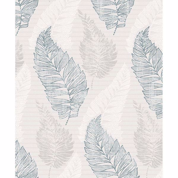 Picture of Rosemary Light Grey Leaf Wallpaper
