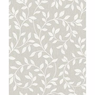 Picture of Torrey Light Grey Leaf Trail Wallpaper