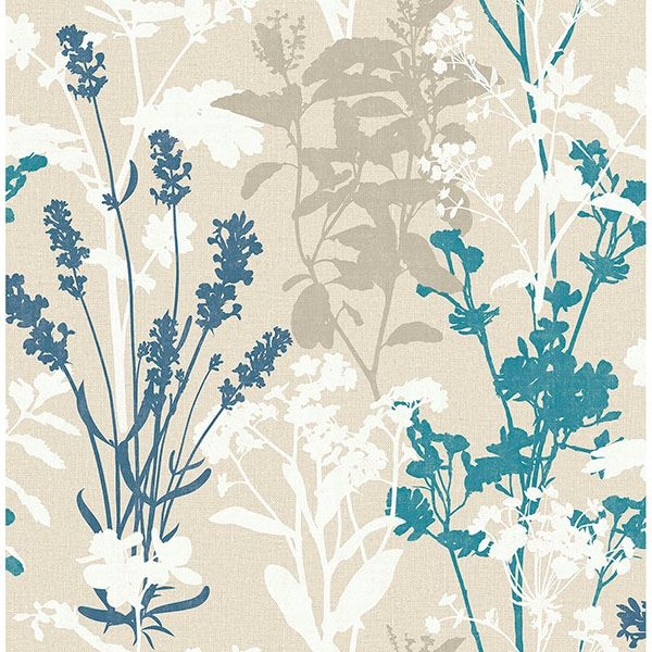 Picture of Santa Lucia Blue Wild Flowers Wallpaper