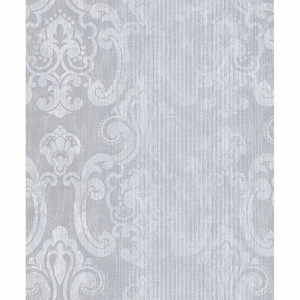 Picture of Ariana Silver Striped Damask Wallpaper