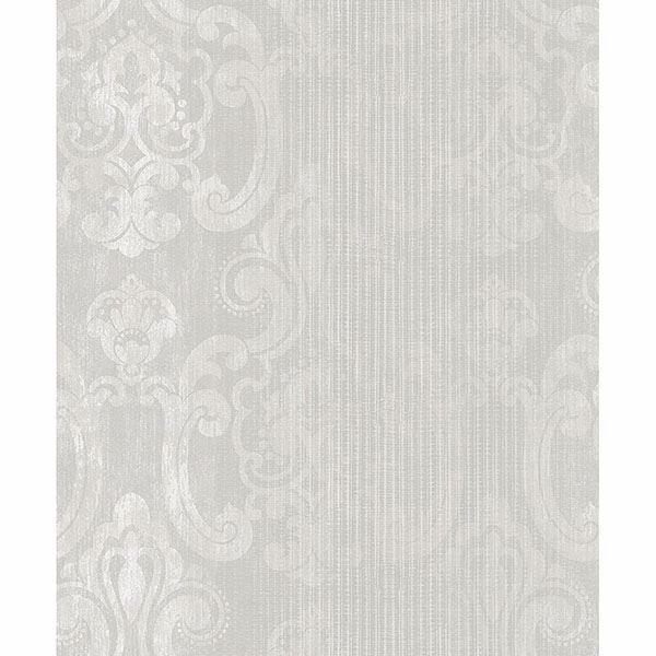 Picture of Ariana Pearl Striped Damask Wallpaper