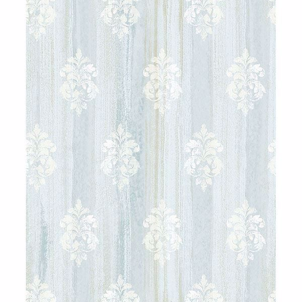 Picture of Alison Aqua Damask Motif Wallpaper
