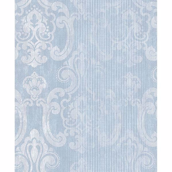 Picture of Ariana Seafoam Striped Damask Wallpaper