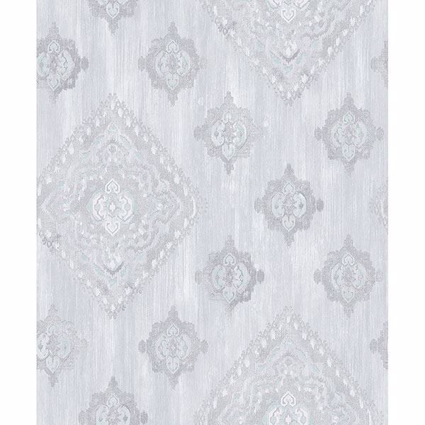 Picture of Leana Aqua Medallion Wallpaper