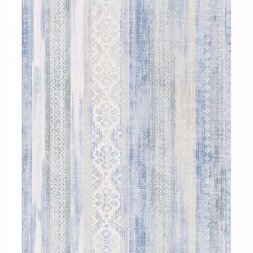 Picture of Blair Blue Ikat Stripe Wallpaper