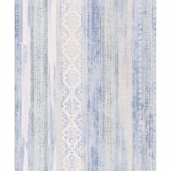 Picture of Blair Blue Ikat Stripe Wallpaper