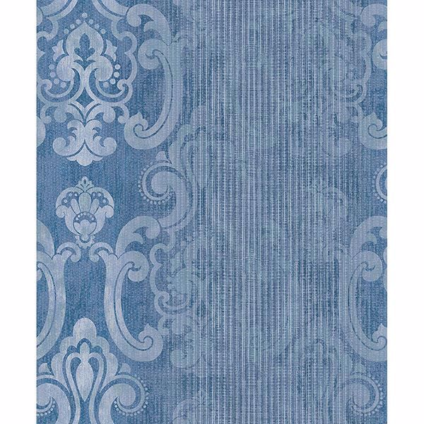 Picture of Ariana Dark Blue Striped Damask Wallpaper
