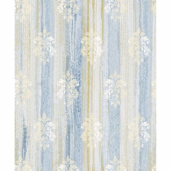 Picture of Alison Blue Damask Motif Wallpaper