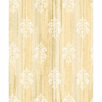 Picture of Alison Yellow Damask Motif Wallpaper
