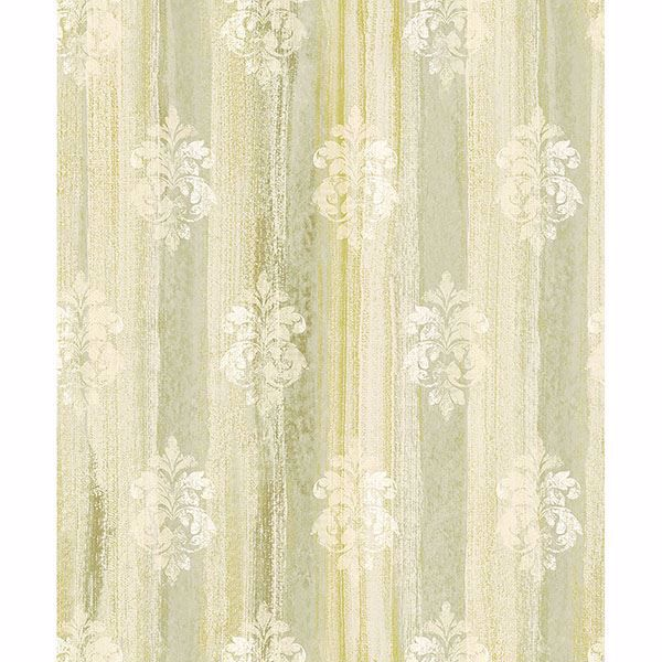 Picture of Alison Green Damask Motif Wallpaper