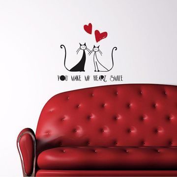 Picture of Love and Cats Wall Quote Decals