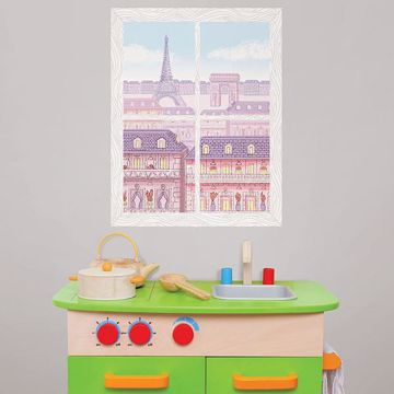 Picture of Parisian Balcony Window Scene Wall Art Kit