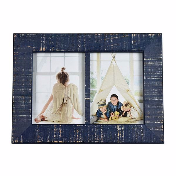 Picture of Dennis Dark Blue Double 5x7 Picture Frame
