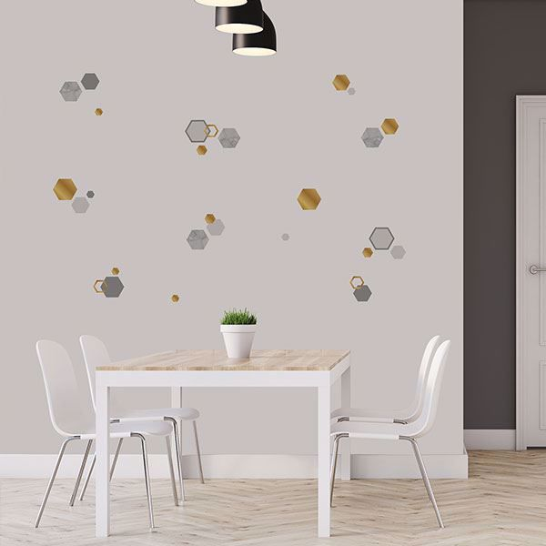 Marble Gold Geo Hexagon Wall Stickers