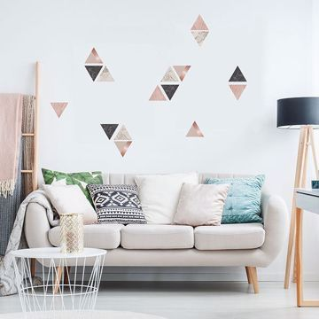 Rose Gold Marble Triangles Wall Stickers