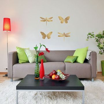 Gold Polygonal Butterflies Wall Stickers