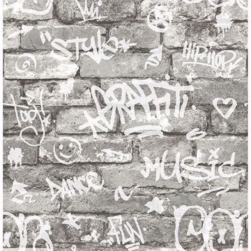 Picture of Rodney Grey Tagged Brick Wallpaper