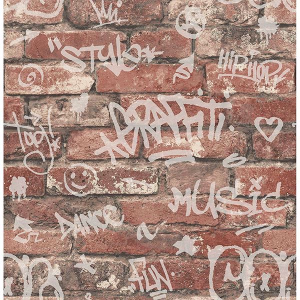 Picture of Rodney Red Tagged Brick Wallpaper