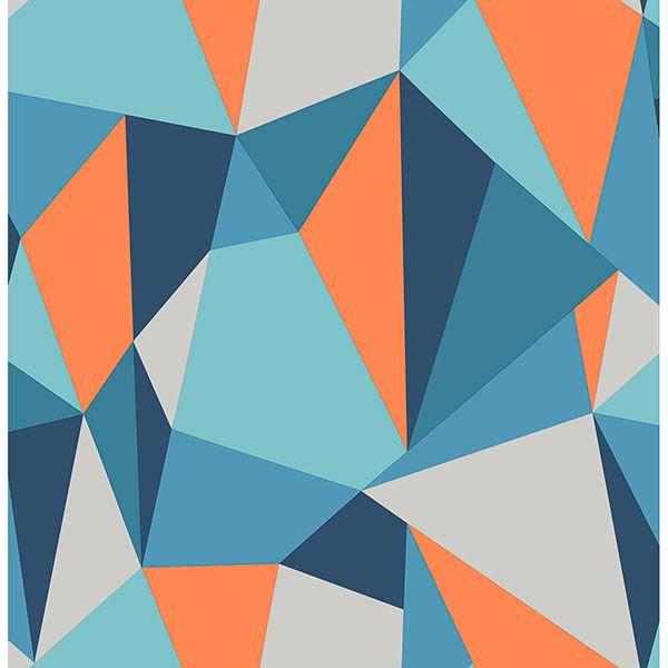 Picture of Kline Blue Facet Wallpaper