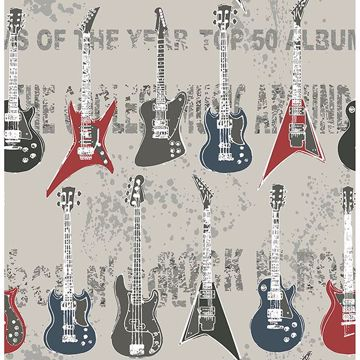 Picture of Richards Red Rock Star Guitar Stripe Wallpaper
