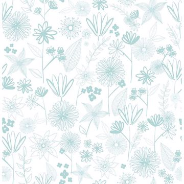 Picture of Mariska Turquoise Meadow Wallpaper