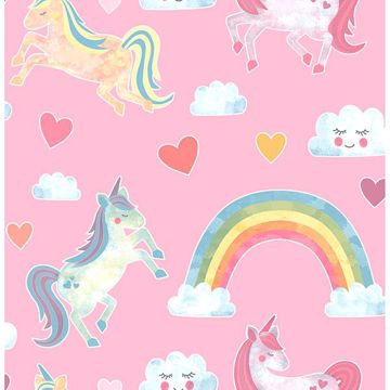 Picture of Elora Pink Unicorn Wonderland Wallpaper
