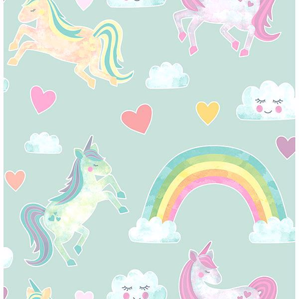Picture of Elora Mint Unicorn Wonderland Wallpaper