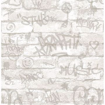 Picture of Rodney White Tagged Brick Wallpaper