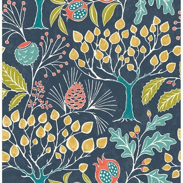 Picture of Groovy Garden Navy Peel & Stick Wallpaper
