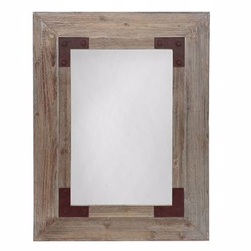 Picture of Stoves Light Brown Rectangular Wood Mirror