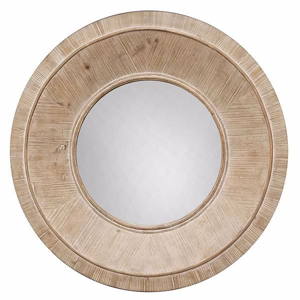 Picture of Drumand Light Brown Round Wood Mirror