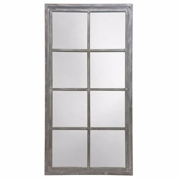 Picture of Lodi Grey Windowpane Wood Mirror