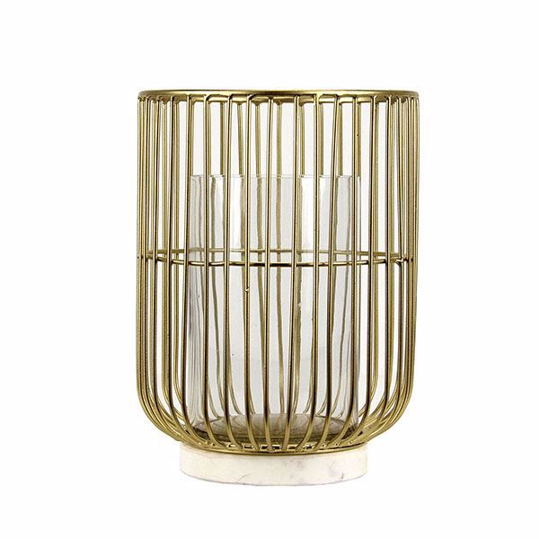 Picture of Carlota Medium Brass and Marble Hurricane