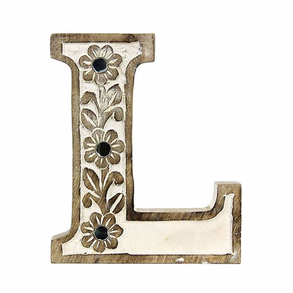 Picture of Albion Carved Wood L Initial