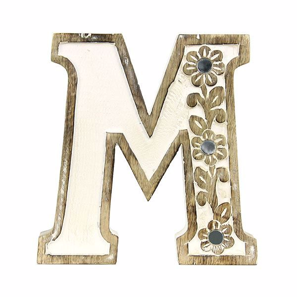 Picture of Albion Carved Wood M Initial