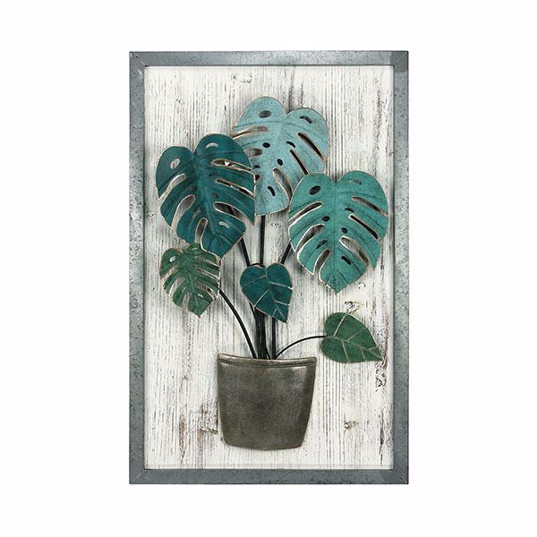 Arden Green Metal Palm Leaf Wood Wall Art