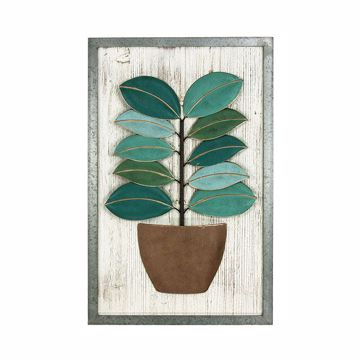 Picture of Astrid Green Metal Leaf Wood Wall Art