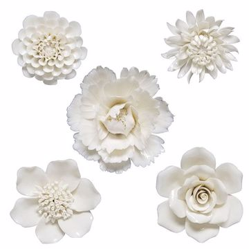 Picture of Klara Set of 5 Cream Ceramic Floral Wall Decor