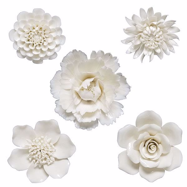 Klara Set Of 5 Cream Ceramic Fl Wall Decor