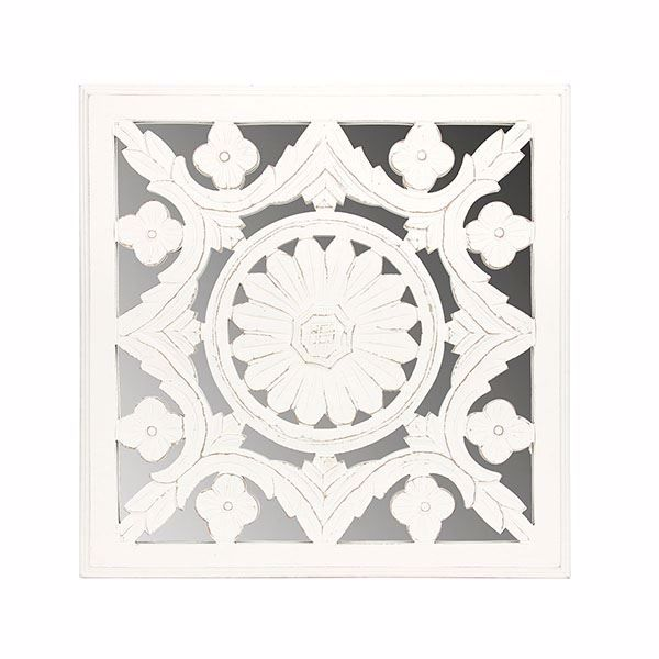 Picture of Meryl White Carved Mirrored Medallion