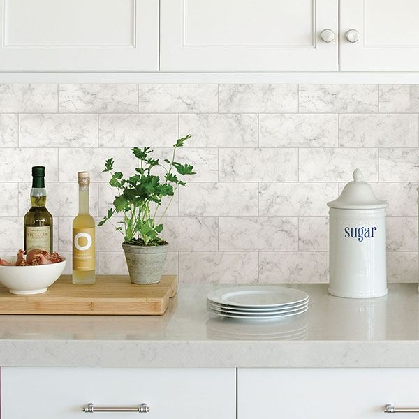Picture of Marble Tile Peel & Stick Backsplash