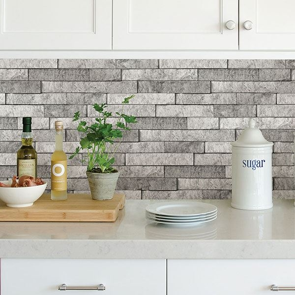 Picture of Grey Stone Peel & Stick Backsplash