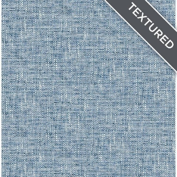 Navy Poplin Texture Peel and Stick Wallpaper