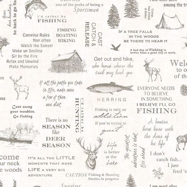 Picture of North Hills Off-White Camping Quotes Wallpaper