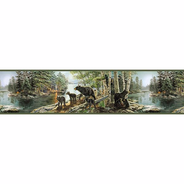 Picture of Bear Necessities Multicolor Mountain Lake Border
